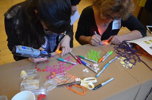 Educators craft at a YOUmedia retreat. Photos/K-Fai Steele